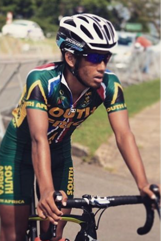 2nd year Junior Joshua Francis representing South Africa. Joshua is an Junior apprentice at iTap and will ride with the U23 Team in 2016.